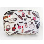 white cosmetic print small cosmetic bag